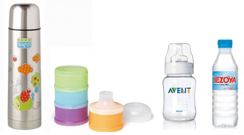 útiles necesarios para preparar el biberón del bebé