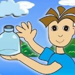 niños bebiendo agua en vaso de cristal