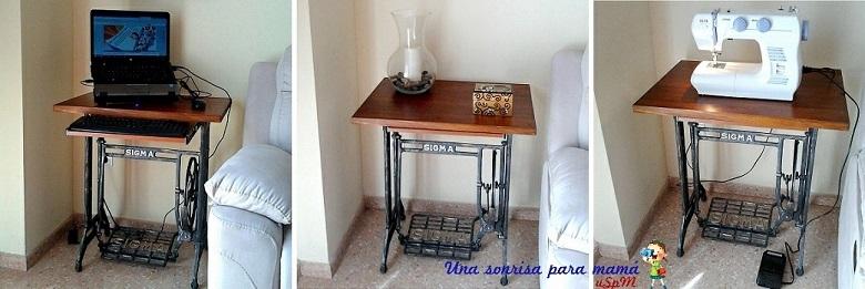 Convertir patas de m quina de coser antigua en escritoria - Como hacer una mesa de ordenador ...
