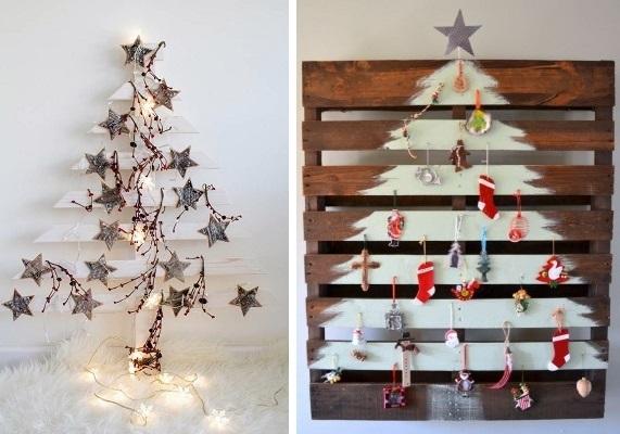 árbol de navidad con listones de madera