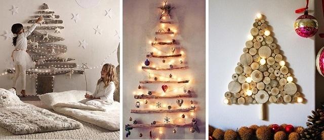 arboles de navidad de ramas y troncos de árbol