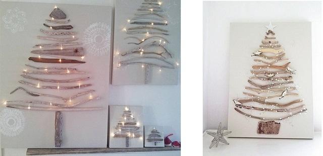 cuadro arbol de navidad hecho con ramas