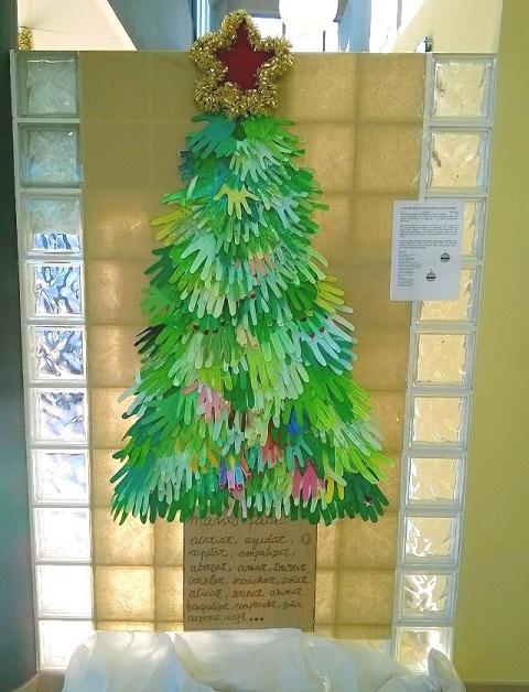 árbol de navidad hecho con recortes de manos de papel