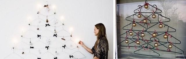 Árbol de navidad hecho con perchas para la ropa