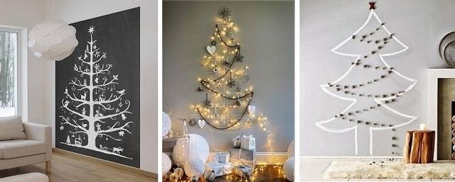 árbol de navidad de pared dibujado con tiza