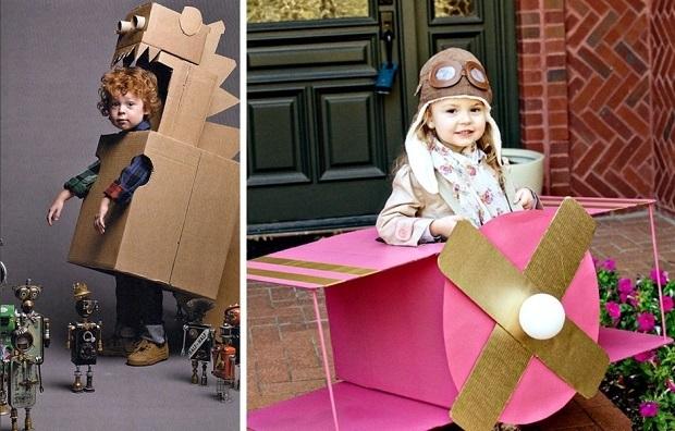 disfraz casero hecho con cajas de cartón
