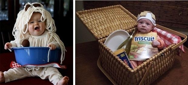 disfraz DIY para bebés espaguetis y picnic