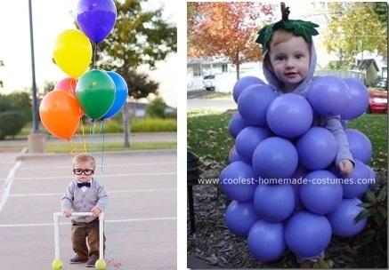 disfraz casero hecho con globlos