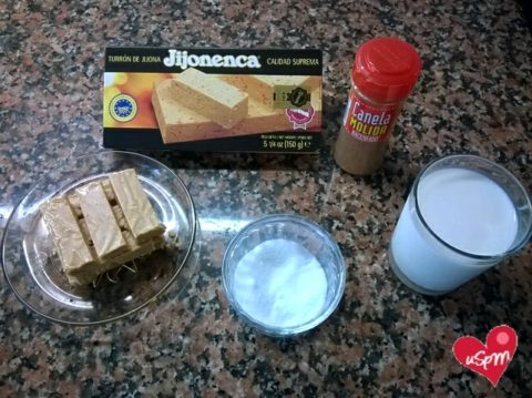 ingredientes batido de turron